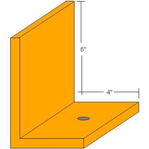 "RG Floor Angle 6""X4""X1/2"" Angle - 5 Foot Length"